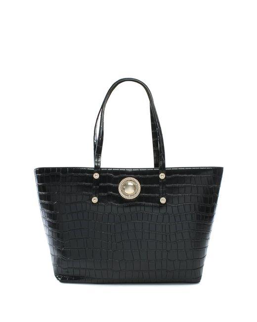 Versace Jeans | Plaque Black Moc Croc Tote Bag | Lyst