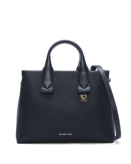 Michael Kors - Blue Large Rollins Admiral Pebbled Leather Satchel Bag - Lyst