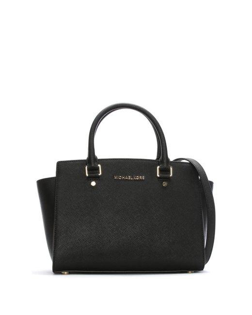Michael Kors - Selma Medium Black Leather Top Zip Satchel Bag - Lyst