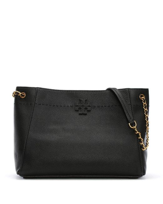 Tory Burch - Mcgraw Black Leather Slouchy Tote Bag - Lyst