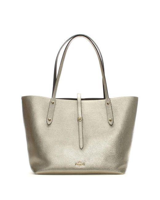 COACH - Metallic Market Polished Platinum Chestnut Leather Tote Bag - Lyst
