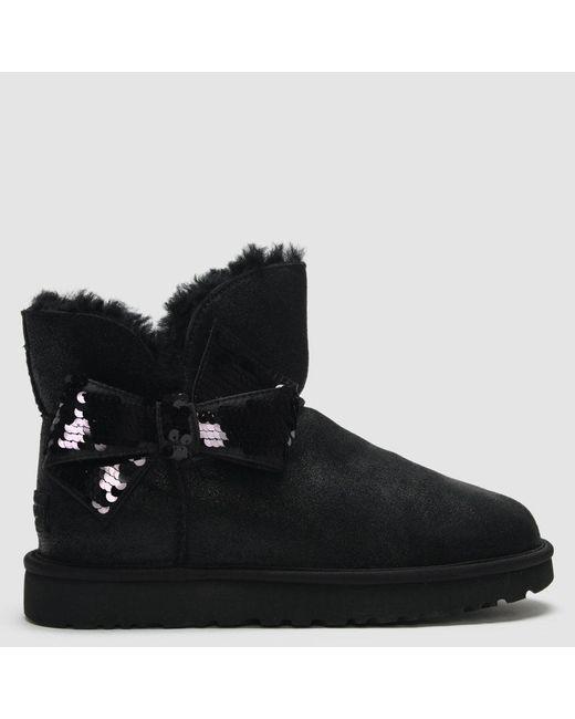 0c926da196f Women's Mini Sequin Bow Black Twinface Boots