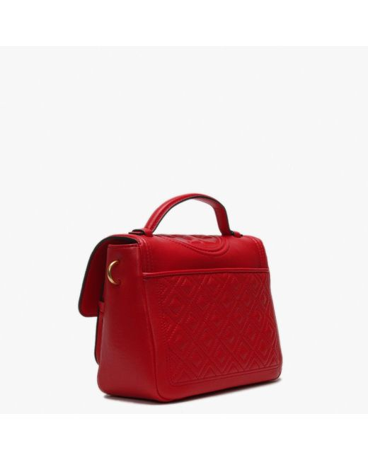 70b5ccc24e82 ... Tory Burch - Fleming Brilliant Red Leather Quilted Satchel Bag - Lyst  ...