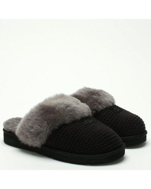 26ad9992a ... Ugg - Cozy Knit Black Sheepskin Slippers - Lyst ...