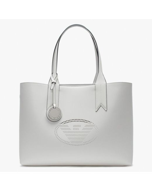 Lyst - Emporio Armani Perforated Logo Frida White Shopper Bag in White 63c0c730ec8e4