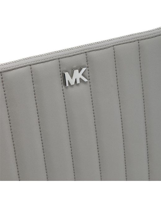 2667d55360b9 ... Michael Kors - Gray Flat Quilted Pearl Grey Leather Clutch Bag - Lyst