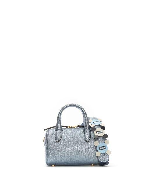 Anya Hindmarch - Circulus Mini Vere Blue Metallic Leather Barrel Bag - Lyst
