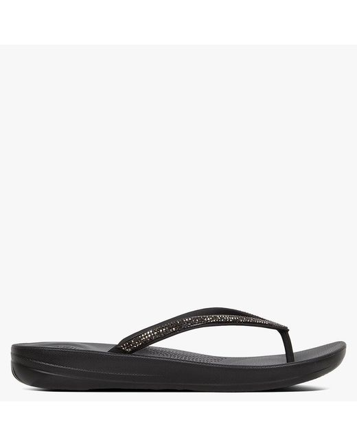 3376631e09da30 Lyst - Fitflop Iqushion Sparkle Black Flip Flops in Black