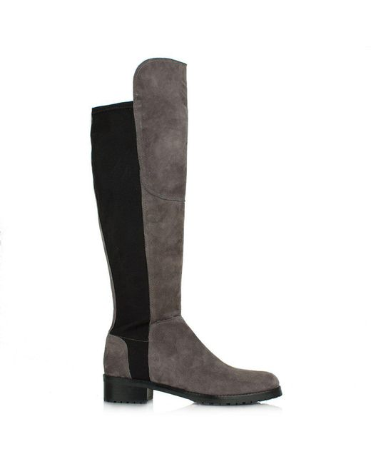 Kennel & Schmenger | Black Zafferano Pewter Suede Elastic Back Riding Boot | Lyst