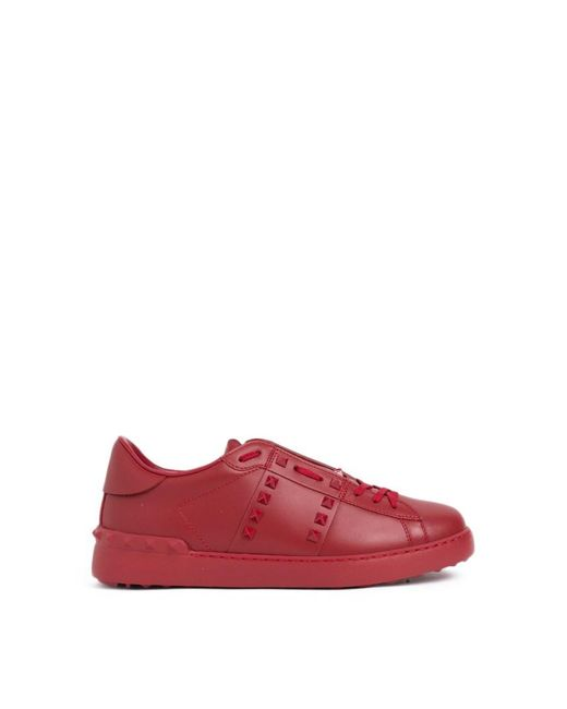 Valentino - Red 'rockstuds Untitled' Sneakers for Men - Lyst
