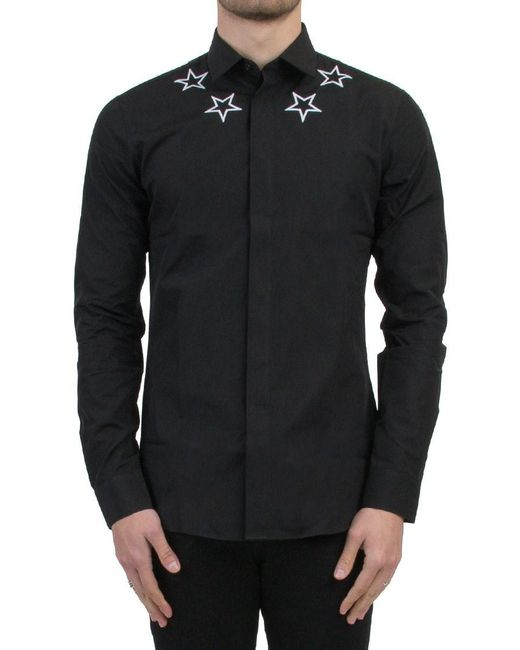 Givenchy | Black 'embroidered Stars' Shirt for Men | Lyst