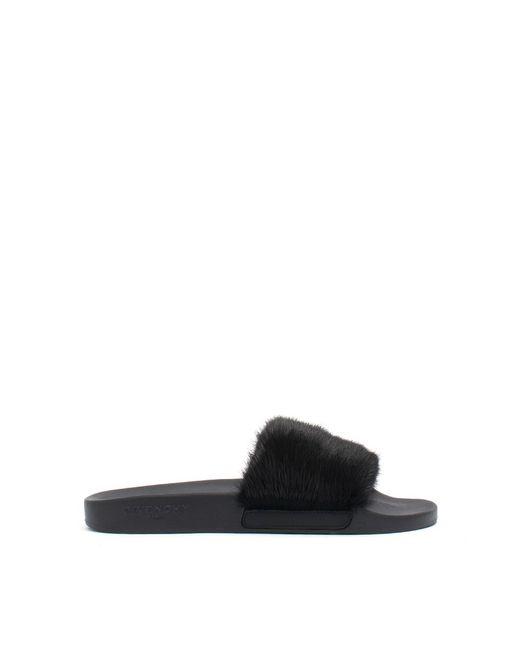 Givenchy | Black Flat Sandals With Mink Fur for Men | Lyst