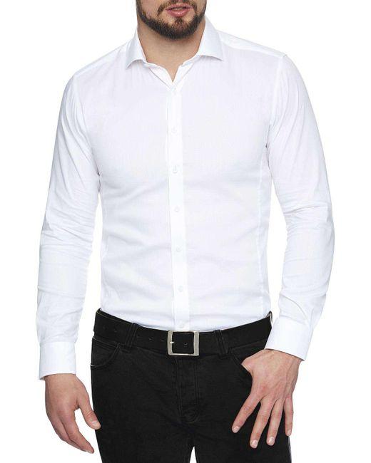 Geoffrey Beene | White Waffle Stretch Body Shirt for Men | Lyst