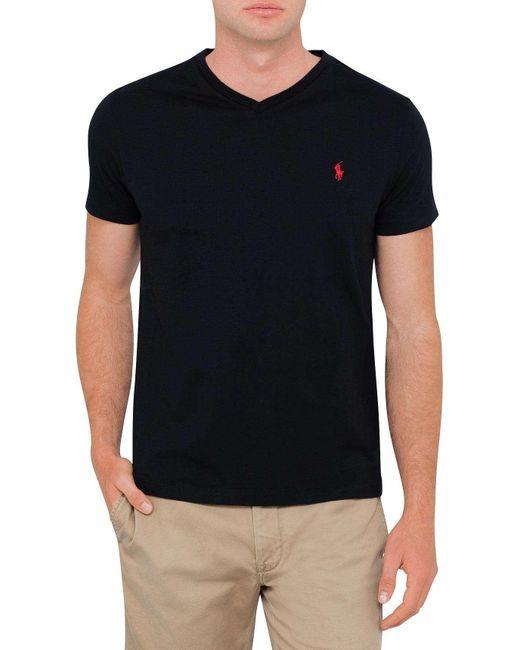Polo Ralph Lauren | Black Medium Fit V-neck T Shirt for Men | Lyst