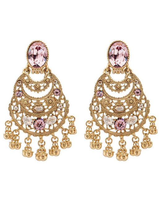 Oscar de la Renta | Metallic Crystal Filigree C Earrings | Lyst