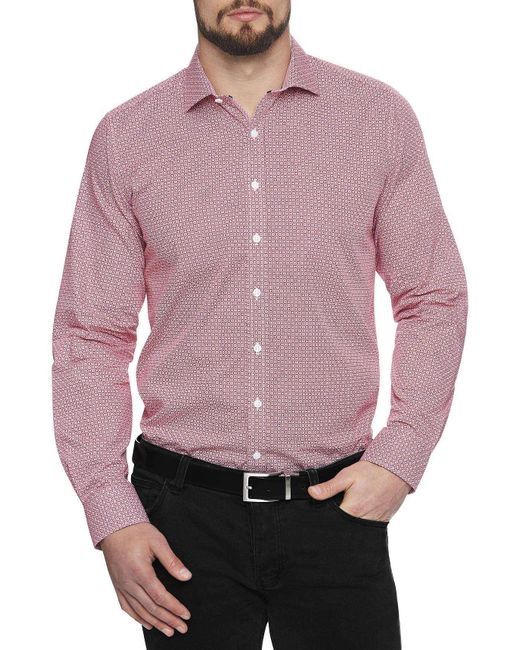 Geoffrey Beene | Red Mendacino Medallion Body Fit Shirt for Men | Lyst