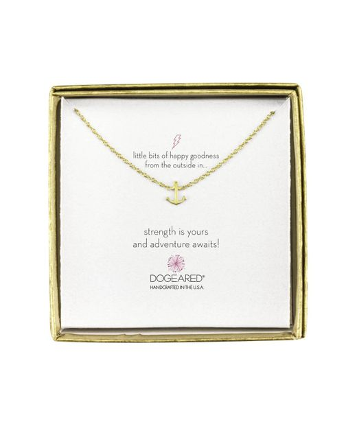 Dogeared | Metallic Mini Anchor Little Bits Of Happy Boxed Reminder Necklace | Lyst