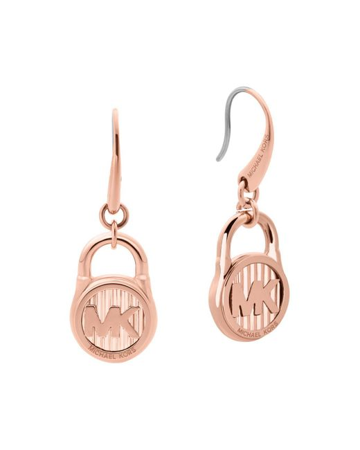Michael Kors | Pink Logo Stainless Steel Padlock Drop Earrings | Lyst