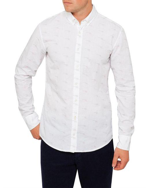 BOSS Orange - White Epreppy_1 Fil Coupe Shirt for Men - Lyst
