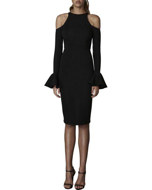 Shona Joy - Black Lori Open Shoulder Midi Dress - Lyst