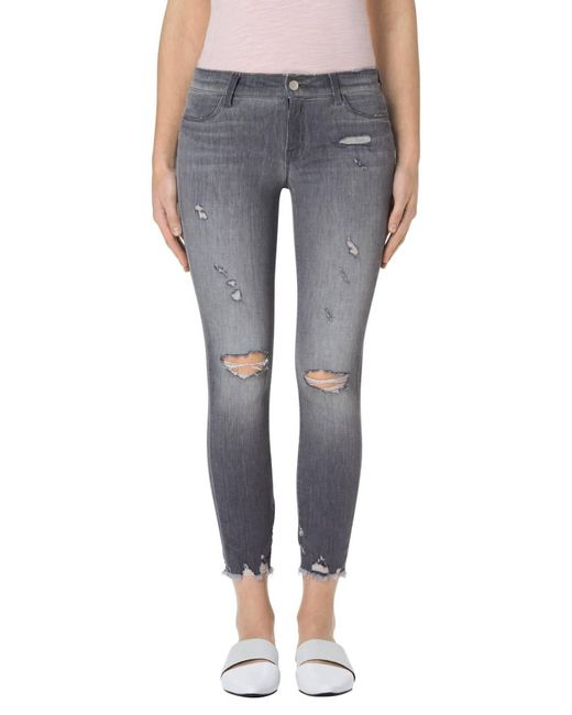 J Brand | Gray Low Rise Skinny Destruct Crop | Lyst