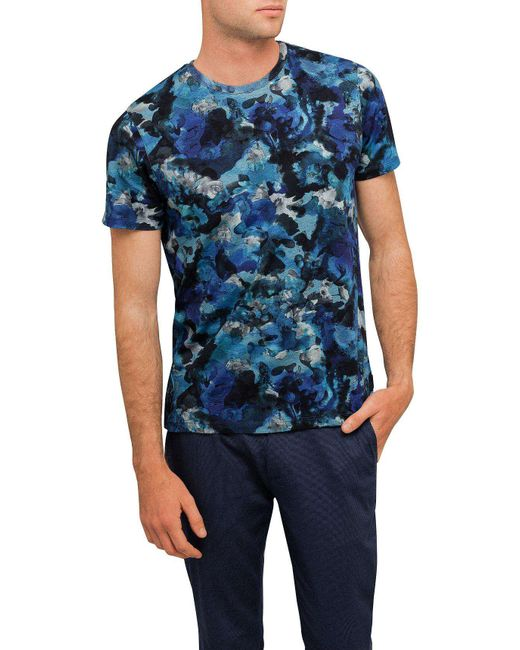 Ted Baker | Blue Printed Camo Tee for Men | Lyst