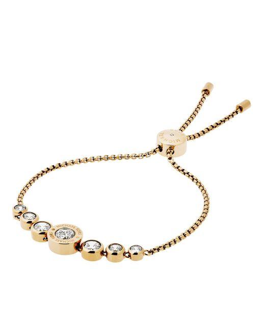 Michael Kors   Metallic Logo Crystal Adjustable Bracelet   Lyst