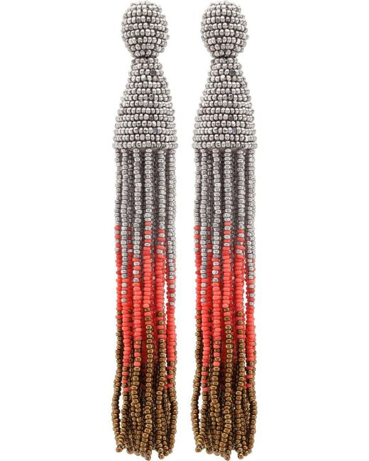 Oscar de la Renta | Multicolor Long Ombre Tassel C Earring | Lyst