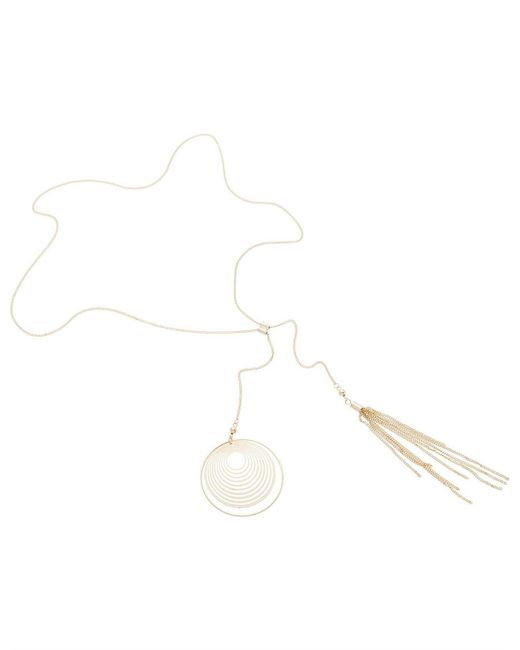 David Jones - Metallic Circle Cut Out Necklace W Tassle - Lyst