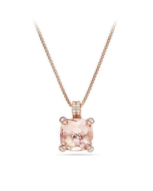 David Yurman - Metallic Chatelaine® Pendant Necklace With Diamonds In 18k Rose Gold, 11mm - Lyst