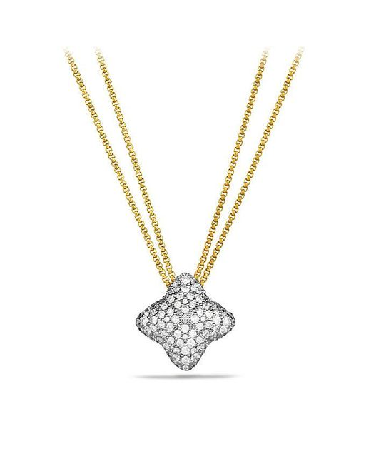 David Yurman | Metallic Quatrefoil Pendant Necklace With Diamonds In 18k Gold | Lyst