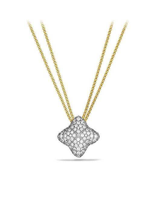 David Yurman - Metallic Quatrefoil Pendant Necklace With Diamonds In 18k Gold - Lyst