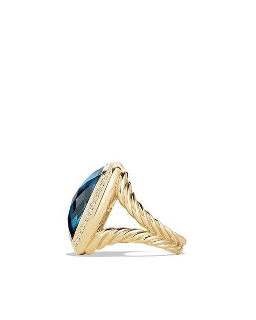 David Yurman - Albion® Ring With Hampton Blue Topaz And Diamonds In 18k Gold, 20mm - Lyst