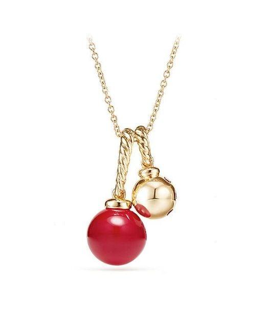 David Yurman | Metallic Solari Pendant Necklace In 18k Gold With Cherry Amber | Lyst