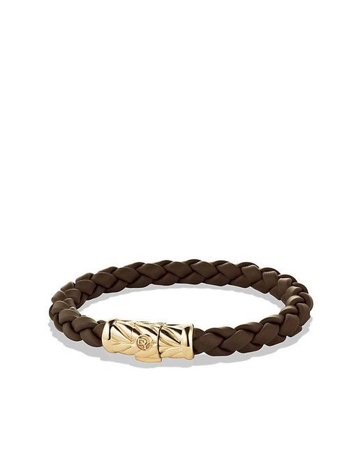 David Yurman | Brown Chevron Rubber Weave Bracelet With 18k Gold, 8mm for Men | Lyst