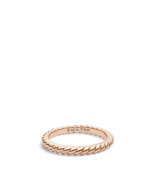 David Yurman - Metallic Dy Unity Cable Wedding Band In 18k Rose Gold, 2.45mm - Lyst