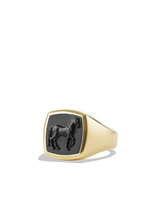 David Yurman | Petrvs Horse Pinky Ring With Black Onyx In 18k Gold for Men | Lyst