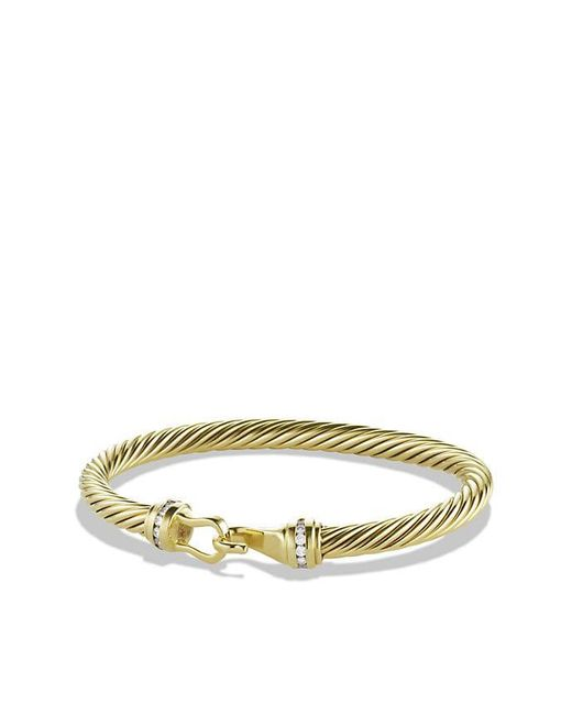 David Yurman | Metallic Cable Classic Buckle Bracelet With Diamonds In 18k Gold, 5mm | Lyst