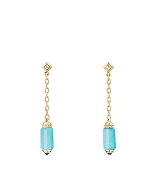 David Yurman - Blue Barrels Chain Drop Earrings With Amazonite, Sapphires And Diamonds In 18k Gold - Lyst