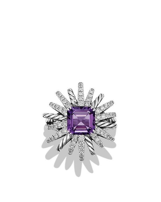 David Yurman - Metallic Starburst Ring With Diamonds And Amethyst In Silver, 23mm - Lyst