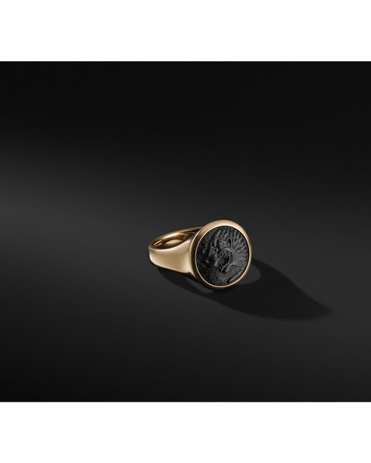 David Yurman - Metallic Petrvs Lion Signet Pinky Ring In 18k Gold for Men - Lyst