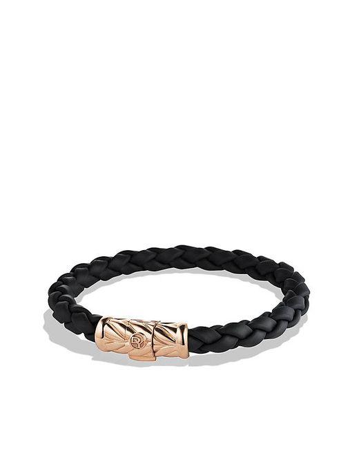 David Yurman - Chevron Rubber Weave Bracelet In Black With 18k Rose Gold, 8mm for Men - Lyst