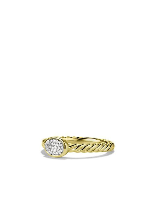 David Yurman | Metallic Petite Pave Oval Ring With Diamonds In 18k Gold | Lyst