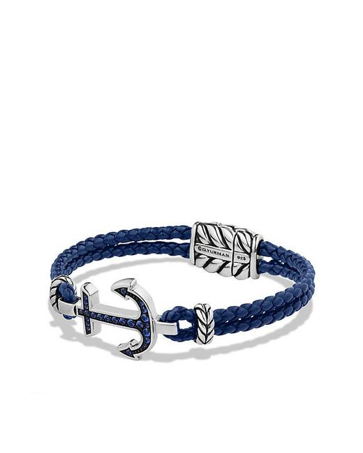 David Yurman - Pavé Anchor Bracelet With Blue Sapphire for Men - Lyst