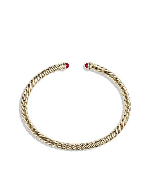 David Yurman - Red Cable Spira Bracelet With Rubies In 18k Gold, 4mm - Lyst