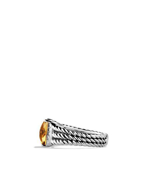 David Yurman | Metallic Petite Wheaton® Ring With Citrine And Diamonds | Lyst