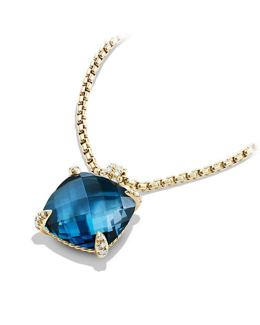 David Yurman | Châtelaine Pendant With Hampton Blue Topaz And Diamonds In 18k Gold, 20mm | Lyst