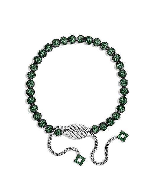 David Yurman | Green Petite Pavé Bracelet With Tsavorite | Lyst