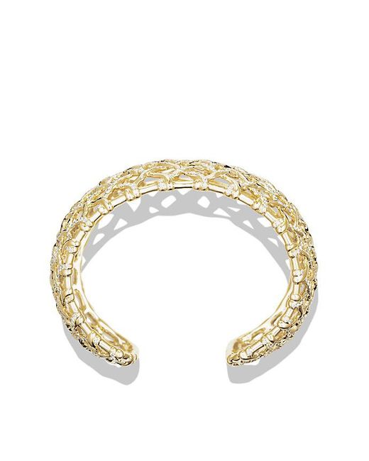 David Yurman - Metallic Venetian Quatrefoil Wide Cuff Bracelet With Diamonds In Gold - Lyst