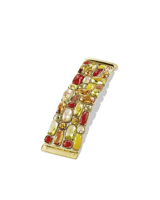 David Yurman - Yellow Châtelaine Five-row Bracelet With Lemon Citrine, Champagne Citrine, And Orange Sapphire In 18k Gold - Lyst